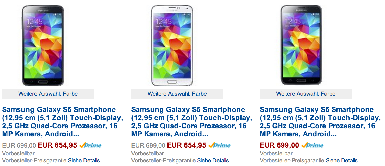 samsung galaxy s5 wird billiger amazon senkt den preis andronews. Black Bedroom Furniture Sets. Home Design Ideas