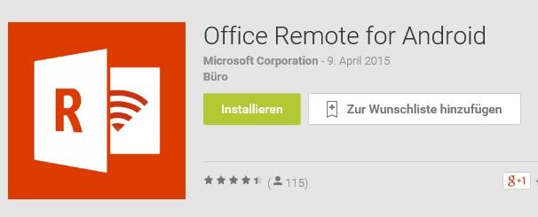 Office Remote für Android: Das leistungsstarke Tool für Vorträge und Präsentationen