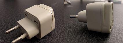 Der Steckeradapter für deutsche Steckdosen...gibt es auch in schöneren Varianten bei Amazon