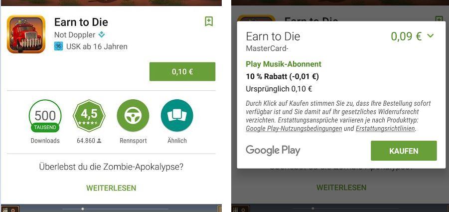 """""""Normaler"""" Einkauf im Play Store zur Aktivierung des Fingerabdrucksensors"""