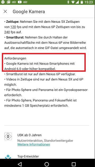 Die neue App-Beschreibung der Google Kamera App