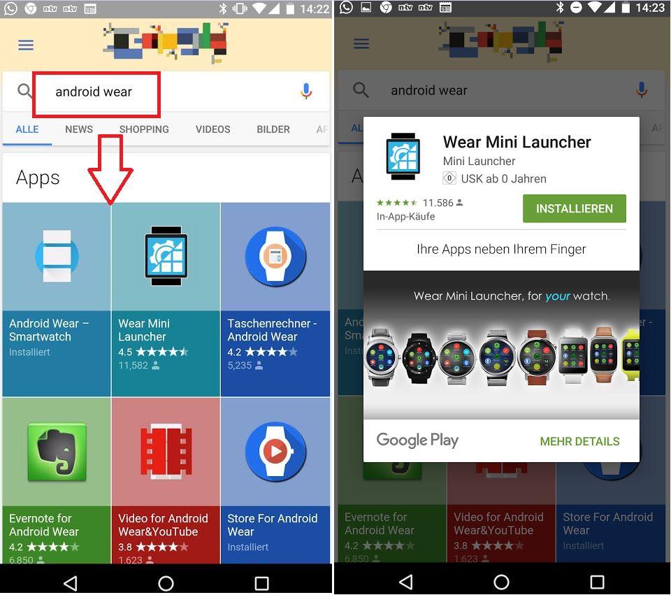 Mini Play Store auf dem Nexus 5X